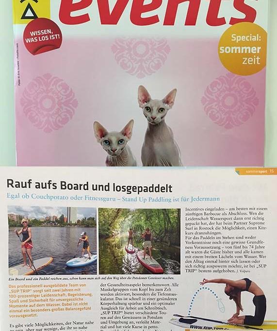 Bericht über SUP TRIP im Stadtmagazin für Potsdam 'Events'