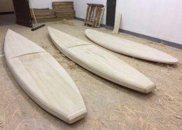 Holz SUP Boardbau Workshop - Ergebnis nach dem Rohbau und ersten Workshopteil
