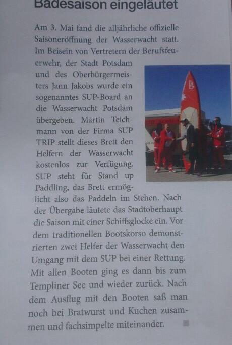 SUP TRIP im Rotkreuz Magazin